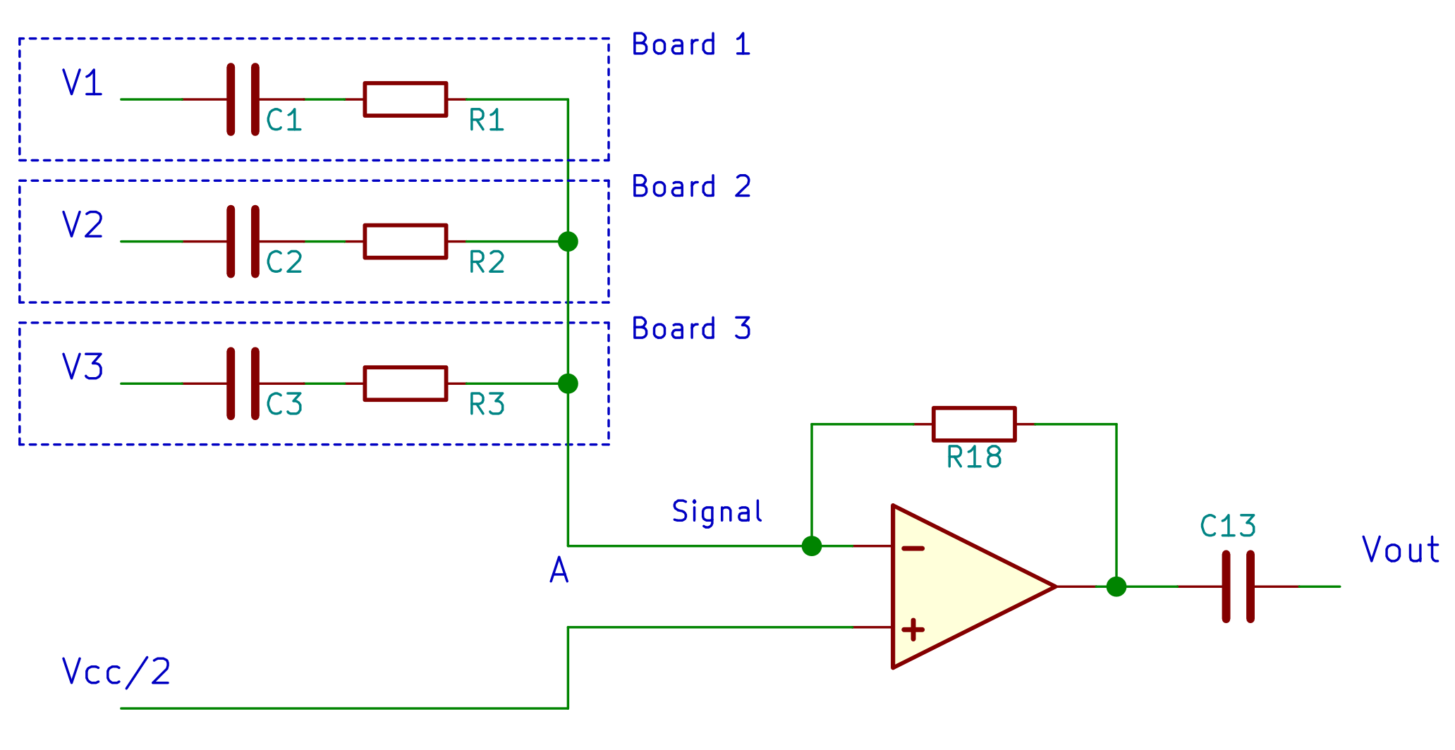 Opamp summing amplifier with single power supply