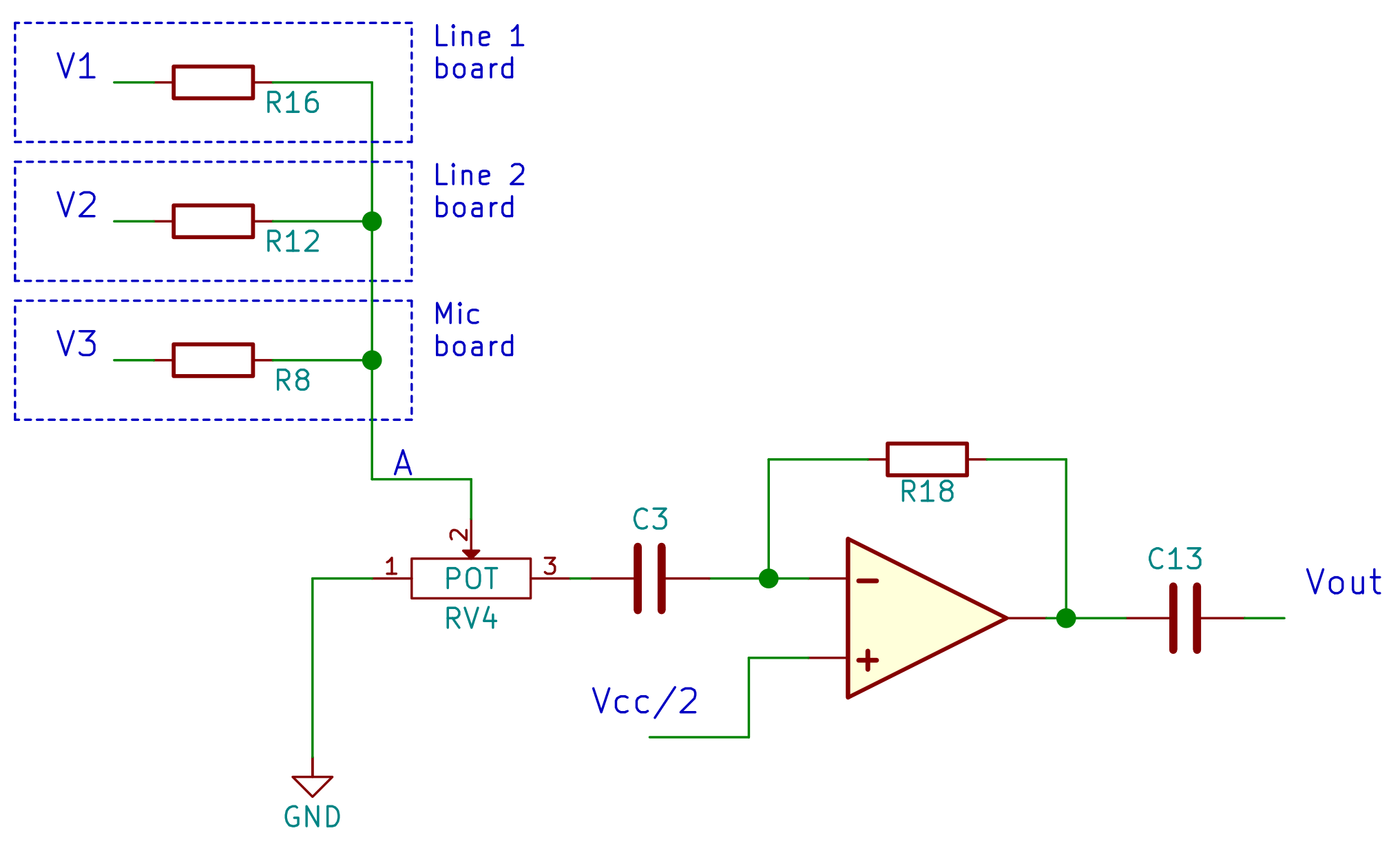 summing circuit with volume potentiometer at the input