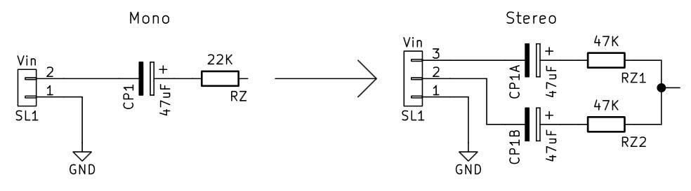 Modificación para entrada estéreo