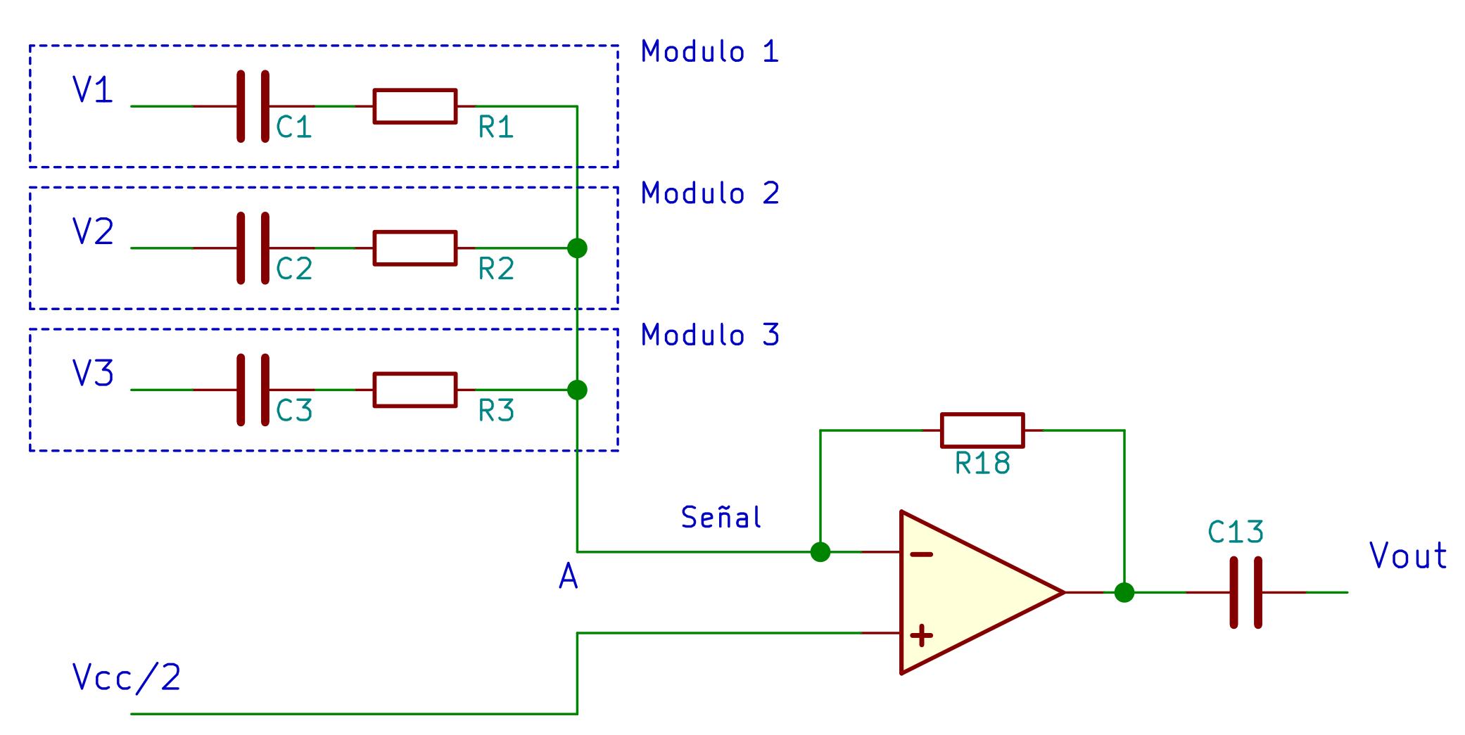 Sumador con amplificador operacional con alimentación única