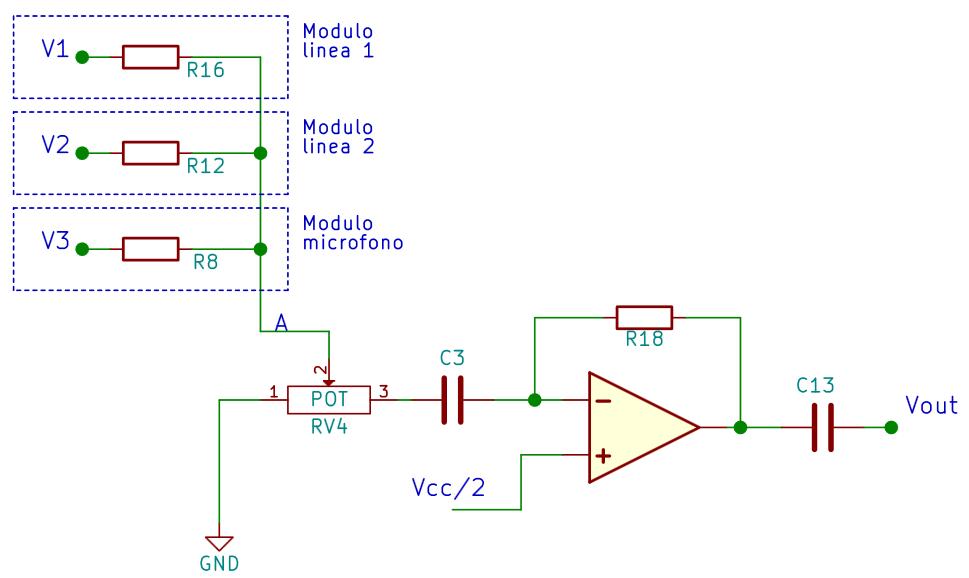 Sumador con potenciómetro de volumen a la entrada