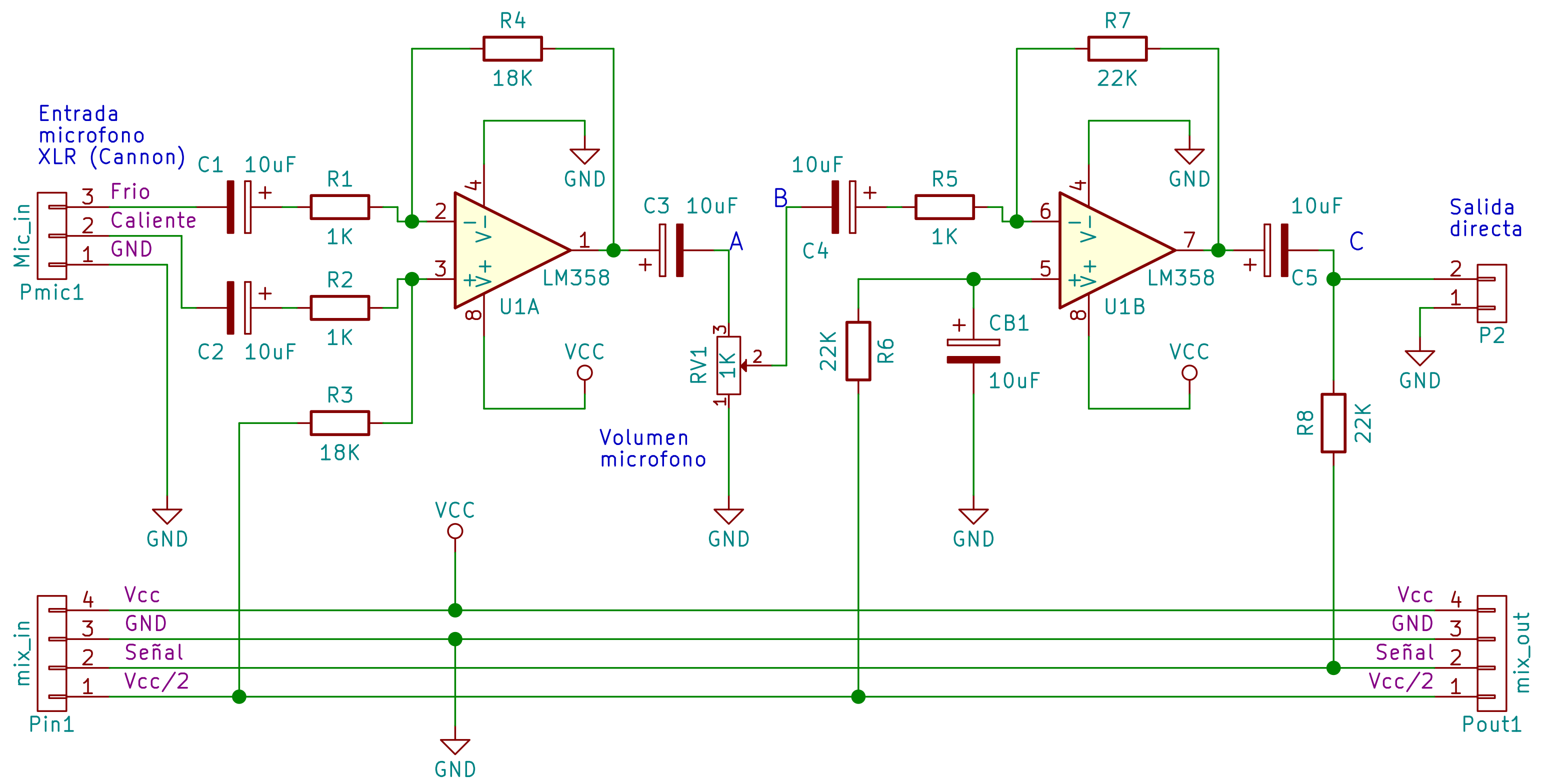 Esquema del modulo con preamplificador microfonico
