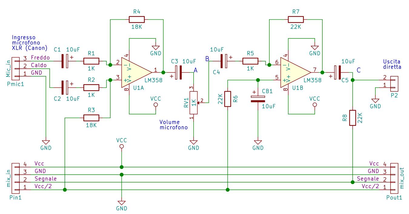 Schema del modulo con preamplificatore microfonico